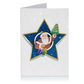 Glitter 3D Ster Kerst kaart: Kerstman met boom [XC-5486]