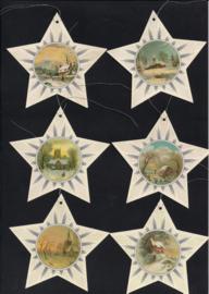 Cadeaulabels sterren met winterlandschap 6 stuks met glitter
