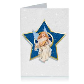 Glitter 3D Ster Kerst kaart: Engel speelt luit [XC-5484]