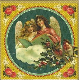 12441 Adventkalender Kaart: Engeltjes met boek in wolk