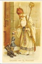 Witte Sinterklaas met rode mijter prentbriefkaart [C8265]