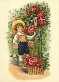 Jongetje met Rozen Reliefkaart EF 3063