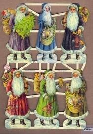 Kerstmannen met gekleurde jas Poëzie plaatjes 7305