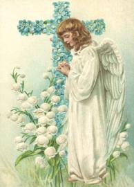 Engel bij bloemenkruis Reliefkaart EF 3010