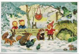 Adventskalender Kaart: Kabouter met de dieren in het bos - 12409