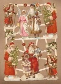 Kerstmannen met kindjes poezieplaatjes GL7417
