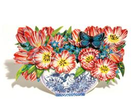 3D Bloemenbak kaart:Tulpen en Sterhyacinten [EC-5016]