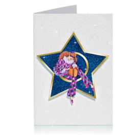 Glitter 3D Ster Kerst kaart: Harlequin met cadeau [XC-5482]