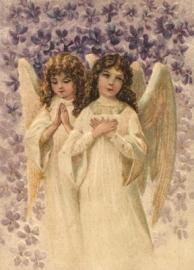 Serene Engeltjes met viooltjes Reliefkaart EF 3017
