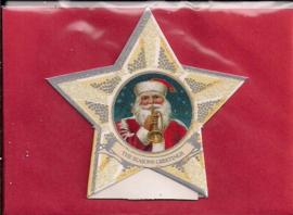 Mini geschenk kaart Kerst in ster: Kerstman met trompet [XG-3131]