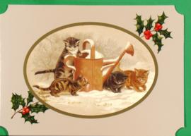 Christmas Catland kaart: Poesjes met gieter [XC-3122]