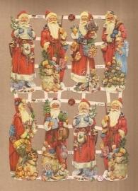 Kerstmannen met speelgoed poezieplaatjes 7379