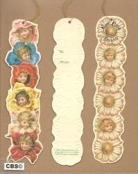 Nostalgische (2) bloemenkopjes boekenleggers poezieplaatjes