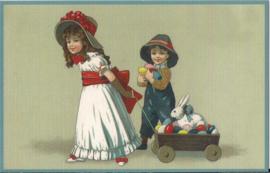 Paashaas met eieren in kar prentbriefkaart [SV G055]