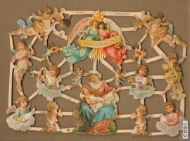 Kerstengelen, Maria en Kindje Jezus Poëzie plaatjes 7229