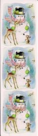 Sneeuwpop poezieplaatjes Stickers Strip QT33