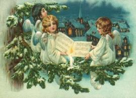 Engelen zingen bij Kerstdorp Reliefkaart EF 3029