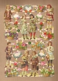 Kinderen vintage met bloemen poezieplaatjes 7368