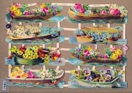 Roeibootjes met bloemen poëzieplaatjes 7325
