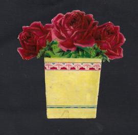 Donkerroze rozen bloempotje antiek poezieplaatje