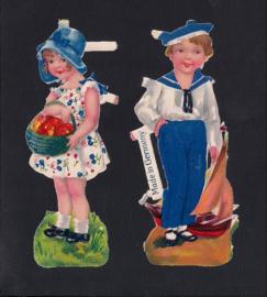Jongetje en meisje (2) antieke poezieplaatjes (143)