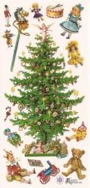 Kerstboom met speelgoed poezieplaatjes Stickers C01
