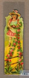 Nostalgische boeklegger meisje met bloemslinger (poëzieplaatjes)