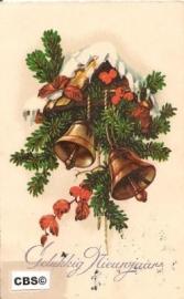 Vogelhuisje in kerstsfeer - oude nieuwjaarskaart [10198]