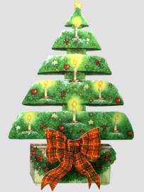 Die-cut Kerst kaart: Boom met kaarsjes [XC-3463]