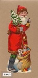 Santa met zak cadeautjes & kerstbel antiek poezieplaatje