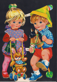 Jongen en Meisje met wandelwagen en paard Zilver Glitter poezieplaatjes MLP 1460