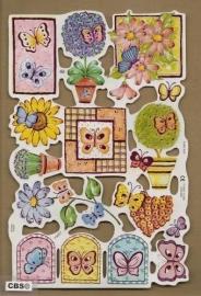 F3007: Vlinders in de tuin poezieplaatjes met paarsfolie