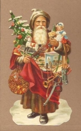 Kerstman met speelgoed poezieplaatjes 5136