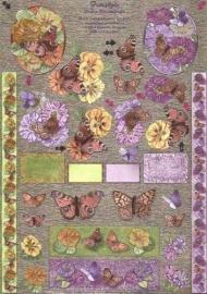 Metallic Bloemen met Vlinders - 747510