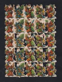 Kerstmannen met bomen antieke poezieplaatjes No. 1091