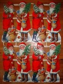 Kerstmannen met kerstbomen dubbel vel poezieplaatjes Z&M 1204