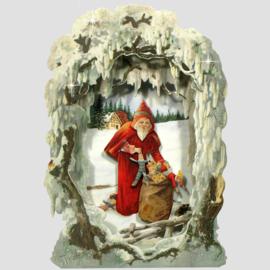 3D kaart: Kerstman met cadeau's [XC-5631]