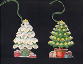 Cadeaulabels Kerstboom in pot 2 stuks