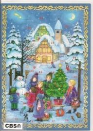 Adventskalender Kaart: Cadeautjes in de sneeuw - 494