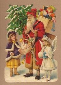 Kerstman met engel en kind poezieplaatjes 5155