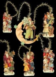 Kersthangers Kerstmannen met maan poezieplaatjes 6-304