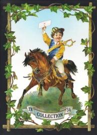 Jongetje te paard met brief TNC 34 Deense poezieplaatjes