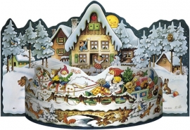 11211 3D Adventskalender: Dwergen bezorgen kerstcadeau's met slee