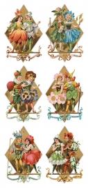 Kinderen met bloemen poezieplaatjes Stickers Y202
