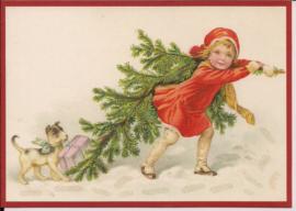 Meisje brengt kerstboom thuis Glitter prentbriefkaart [SV 6Wg087]