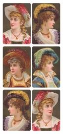 Dames met verenhoeden poezieplaatjes Stickers Y172
