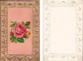 Antieke kaart met poezieplaatje Roze Roos goudopdruk