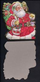 Kerstman met tas cadeautjes en goudenrand