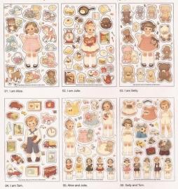 Sticker pakket Poppen met speelgoed (6 vellen)
