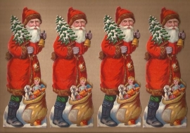 Kerstmannen (4) met cadeautjes & kerstbel antieke poezieplaatjes